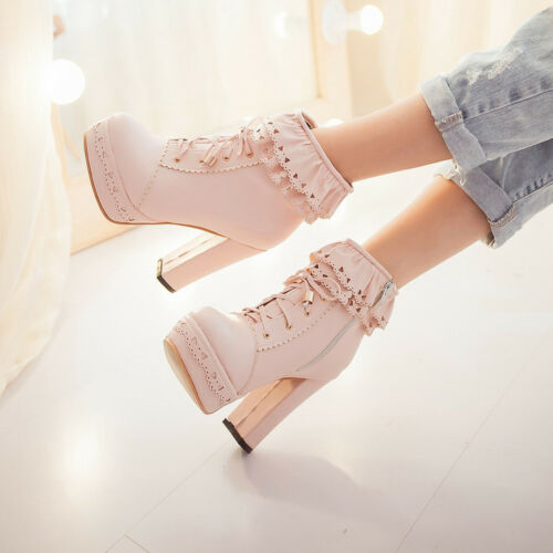 Womens Lolita Court Sweet New Cuban Heels Platform Lace Up Ankle Boots Shoes Hot
