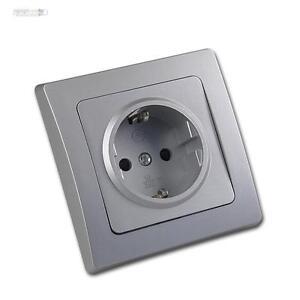 DELPHI-SchutzkontaktSteckdose-Schuko-Wandsteckdose-Silber-mit-Rahmen-Steckdose