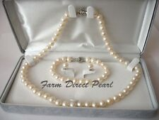 """16"""" Inch Set ROUND 9-10mm White Pearl Necklace Earrings Bracelet Freshwater"""