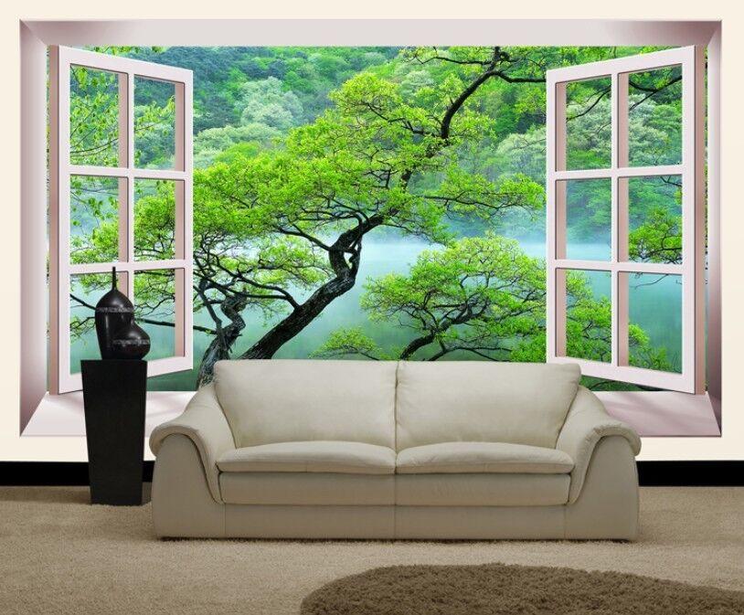 3D Window Grün Tree 7 Wall Paper Murals Wall Print Wall Wallpaper Mural AU Kyra