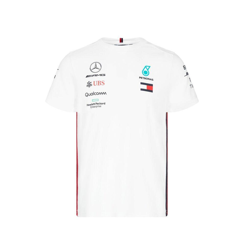 Neuf 2019 Mercedes Amg F1 Team Pour Homme Lewis Hamilton T Shirt Tee Blanc-officiel