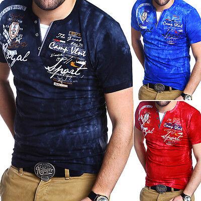 Herren Basic Deep V-Neck T-Shirt Slim Fit Weiß//Schwarz//Grau//Blau NEU G.B.D