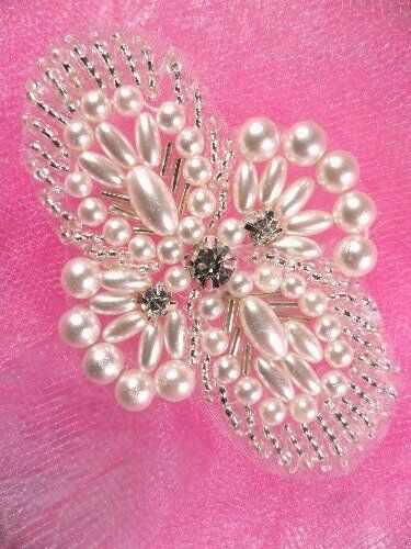 """JB271 Silver Pearl  Beaded Rhinestone Applique 3/""""  VISIT OUR STORE 4000 ITEMS"""