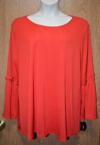 Womens-Pretty-Chinese-Red-Alfani-Long-Flared-Shirt-Size-2X-NWT-NEW
