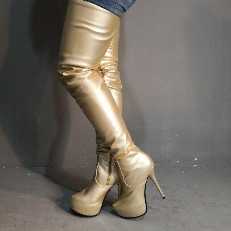 Mode kvinnor Over Knee Knee Knee stövlar Platform Fotskor Guldsilver skor Stor storlek 20  väntar på dig