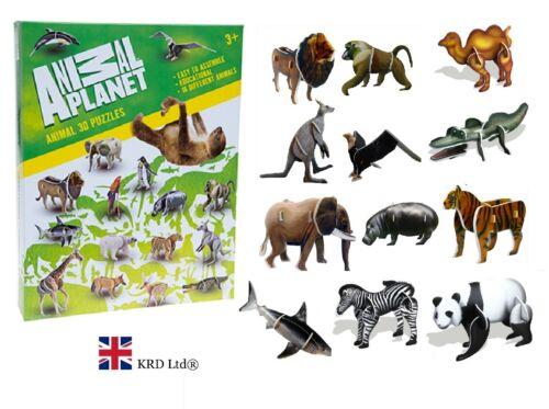 Animal Planet Set 3d Puzzle Kit di montaggio costruzione Craft ANIMALI ZOO scatola regalo