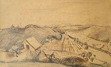 Eduard Spörri 1901-1995 Wettingen Aargau/inchiostro di china Disegno Paesaggio vigneti