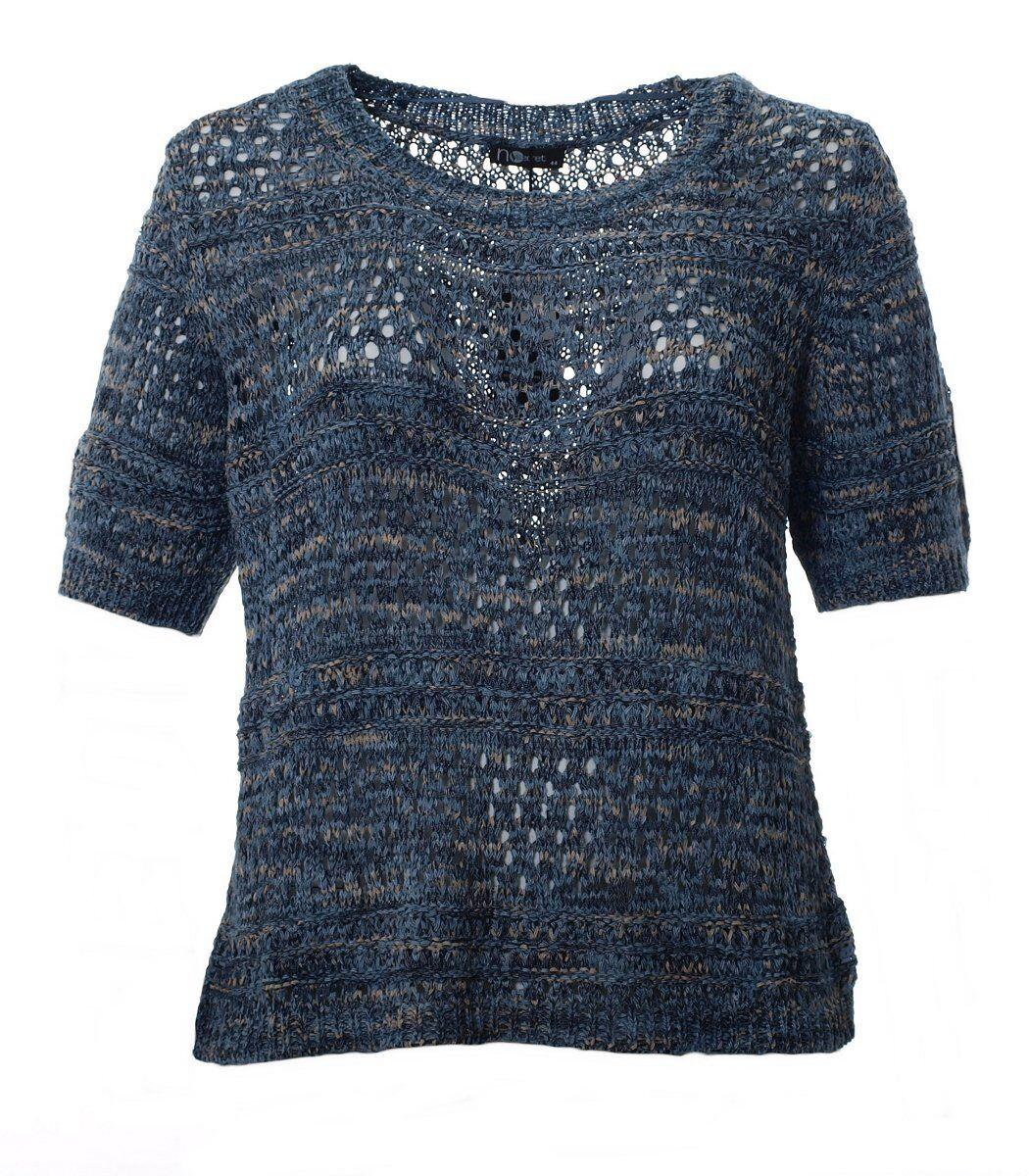 No Secret Secret Secret Häkel-Pullover Damen kurzarm Ajour Blau Melange große Größen | München Online Shop  10c8ee