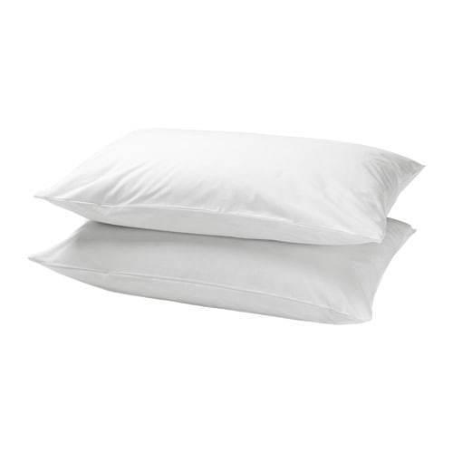 2 x IKEA DVALA  Pillowcase White Cotton Pillow Cases 50 x 80 cm  UK-B786