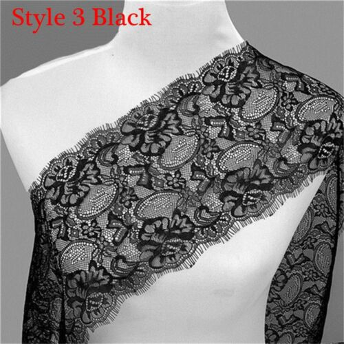 Für Kleidungsdekoration 3 Yards Black /& White Soft Floral Lace Trim Crafts