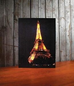 Eiffel Tower Paris France Lighted Canvas Wall Decor Sign