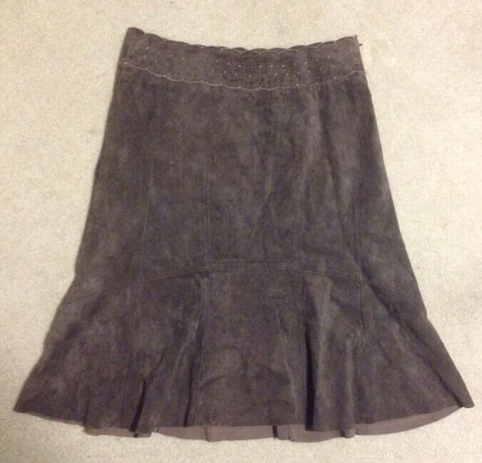 CABI Flare Brown Leather Skirt Sz 4