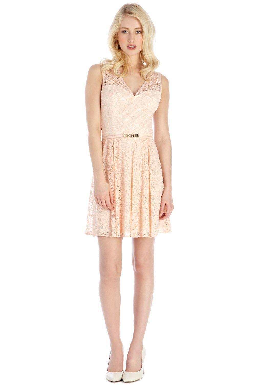 Oasis donna donna donna NATURAL Isabelle Lace Skater Dress f18141