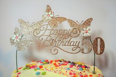 Awe Inspiring Rose Gold Birthday Cake Topper Handcrafted Decoration On A White Funny Birthday Cards Online Alyptdamsfinfo
