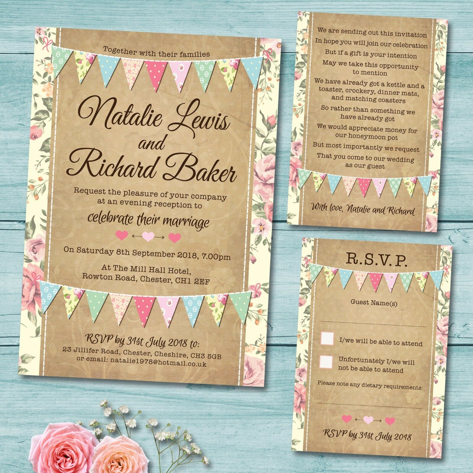 Details About Evening Wedding Invitation Set Rsvp Card Gift Poem Vintage Pastel Bunting
