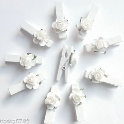 10 x Mini WHITE ROSE Pegs-Craft Wedding Placement Love Heart Craft Card Holder