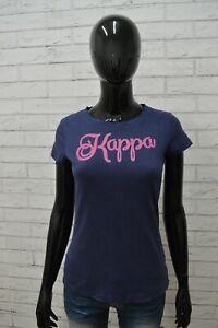 Maglia-KAPPA-Donna-Taglia-Size-SM-Maglietta-Shirt-Blusa-Manica-Corta-Cotone-Blu