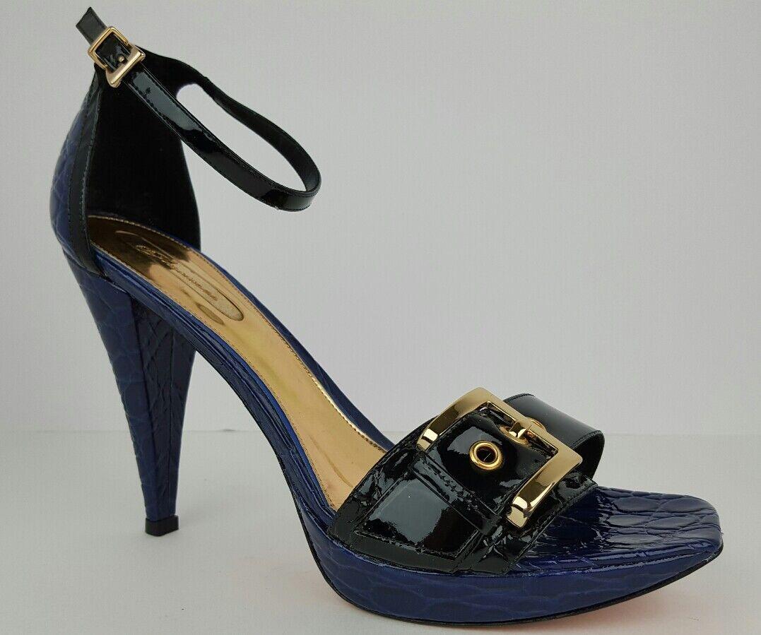 promozioni Gracienne Donna  Sz 10 10 10 blu & nero Patent Leather Buckle Ankle Strap Stilettos  costo effettivo