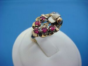 !UNIQUE 14K GOLD ANTIQUE RING WITH RUBIES, FLOWER MOTIF, 5.1 GRAMS, SIZE 4