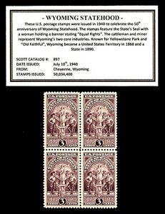 1940-WYOMING-STATEHOOD-Block-of-Four-Vintage-U-S-Postage-Stamps
