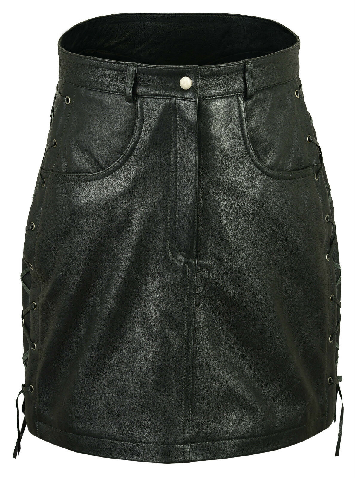 Ladies   Women Soft Nappa Leather Pencil Elegant Dress Skirt - Sides Laces