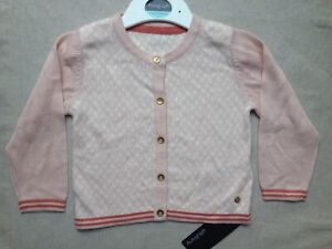 Details about Marks & Spencer M&S Autograph Baby Peach White Cotton Knit Cardigan 9 12 Mth 76