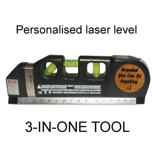 Fathers Day gift for him Personalised Laser Level Dad Grandad Birthday Present
