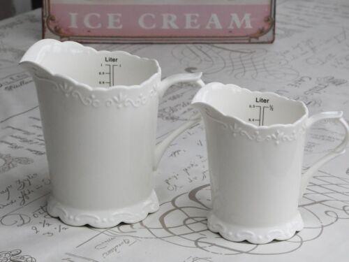 Provence pichet de mesure en porcelaine céramique blanche cuisine pays français vintage