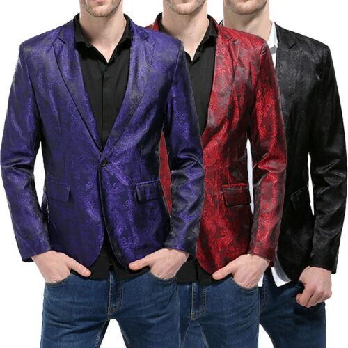 Mens Fashion Long Sleeve Business Suit Blazer One Botton Slim Fit Suit