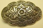 Vintage Sterling Silver 925 Scrolling FLOWER FLORAL Repousse Pin Brooch