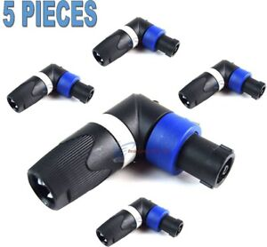 5-Pack-Pro-Audio-Right-Angle-L-4-Pin-Male-Speakon-Plug-Adapter-Connector-Coupler