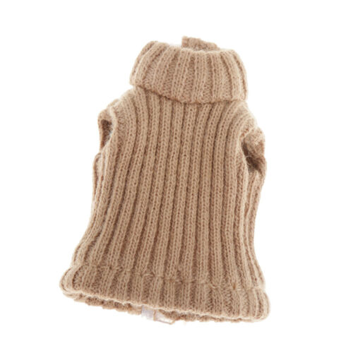 Knitted High Collar Sleeveless Vest Clothing for 12cm 1//12 BJD Dolls Clothes