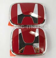 2pcs Jdm Honda Front Rear Red H Emblem 2008-2017 Accord Sedan