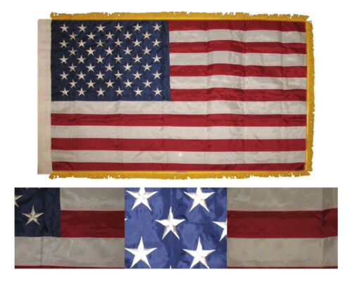 3x5 Embroidered 2ply USA 50 Star Sleeve w// Gold Fringe 300D Nylon Flag