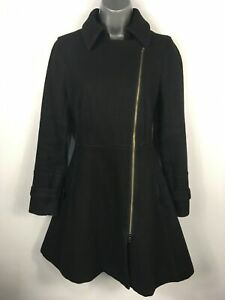 WOMENS-ARMANI-EXCHANGE-BLACK-WOOL-RICH-ASYMMETRIC-ZIP-FITTED-COAT-SIZE-SMALL