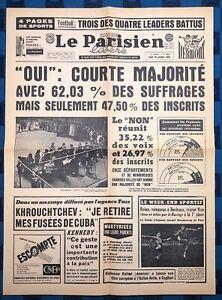 La-Une-Du-Journal-Le-Parisien-Libere-29-Octobre-1962-Referendum-Du-P-R-Au-S-U