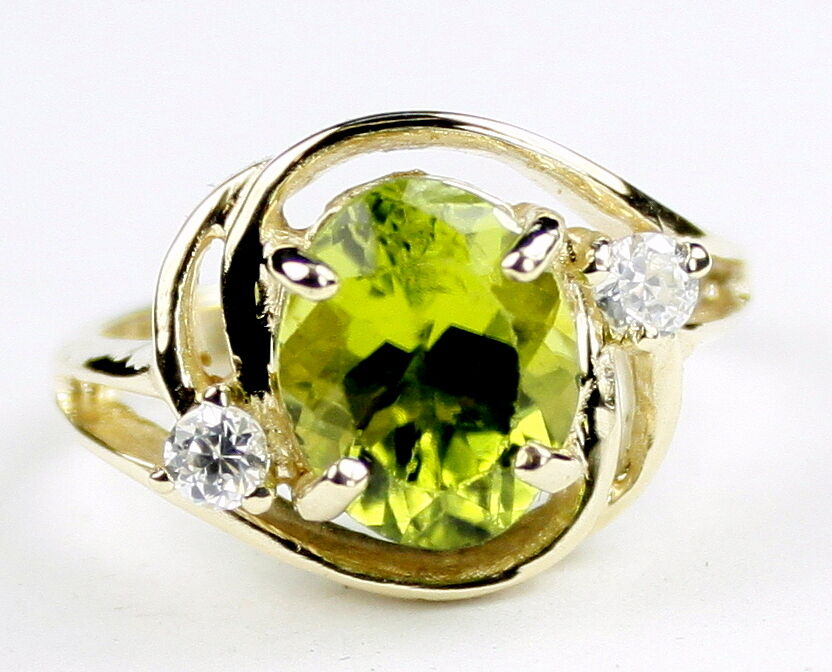 Peridot, 10KY or 14KY gold Ladies Ring, R021-Handmade