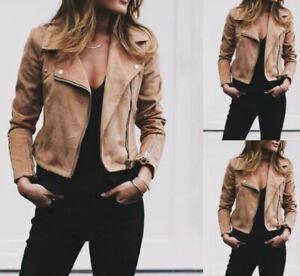 Women-039-s-Ladies-Suede-Leather-Jacket-Flight-Coat-Zip-Up-Biker-Casual-Tops-Clothes