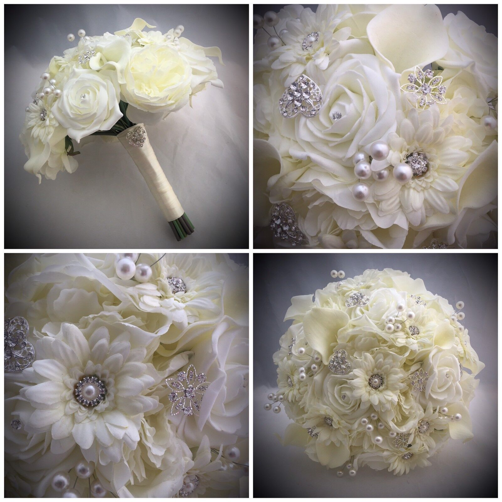 BRIDE VINTAGE BOUQUET BROOCH WEDDING IVORY MIXED FLOWERS PEONY LILIES PEARLS
