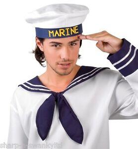 Da Uomo Marinaio Marino Navy Cap Hat Nautico Costume Unisex Hen Stag Do
