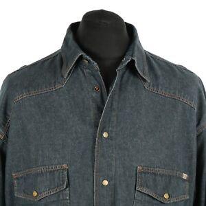 Vintage-MUSTANG-Denim-Shirt-Retro-Western-Cowboy-Snap-Druckknopf-Baumwolle-Jean