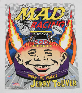 M * NOS vtg 90s MAD MAGAZINE nhra jerry tolliver racing sealed t shirt * M9