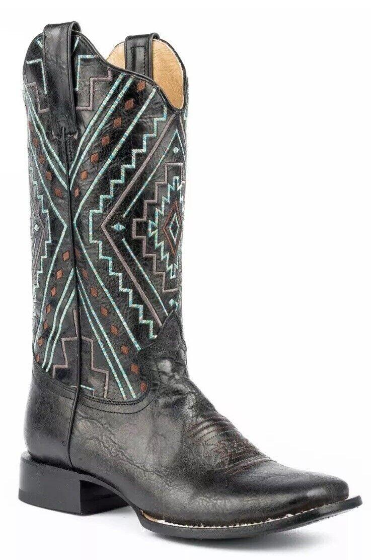 il prezzo più basso New Roper Donna  Native Marbled Cowgirl Western stivali stivali stivali Square Toe nero Dimensione 6.5  risparmia il 50% -75% di sconto