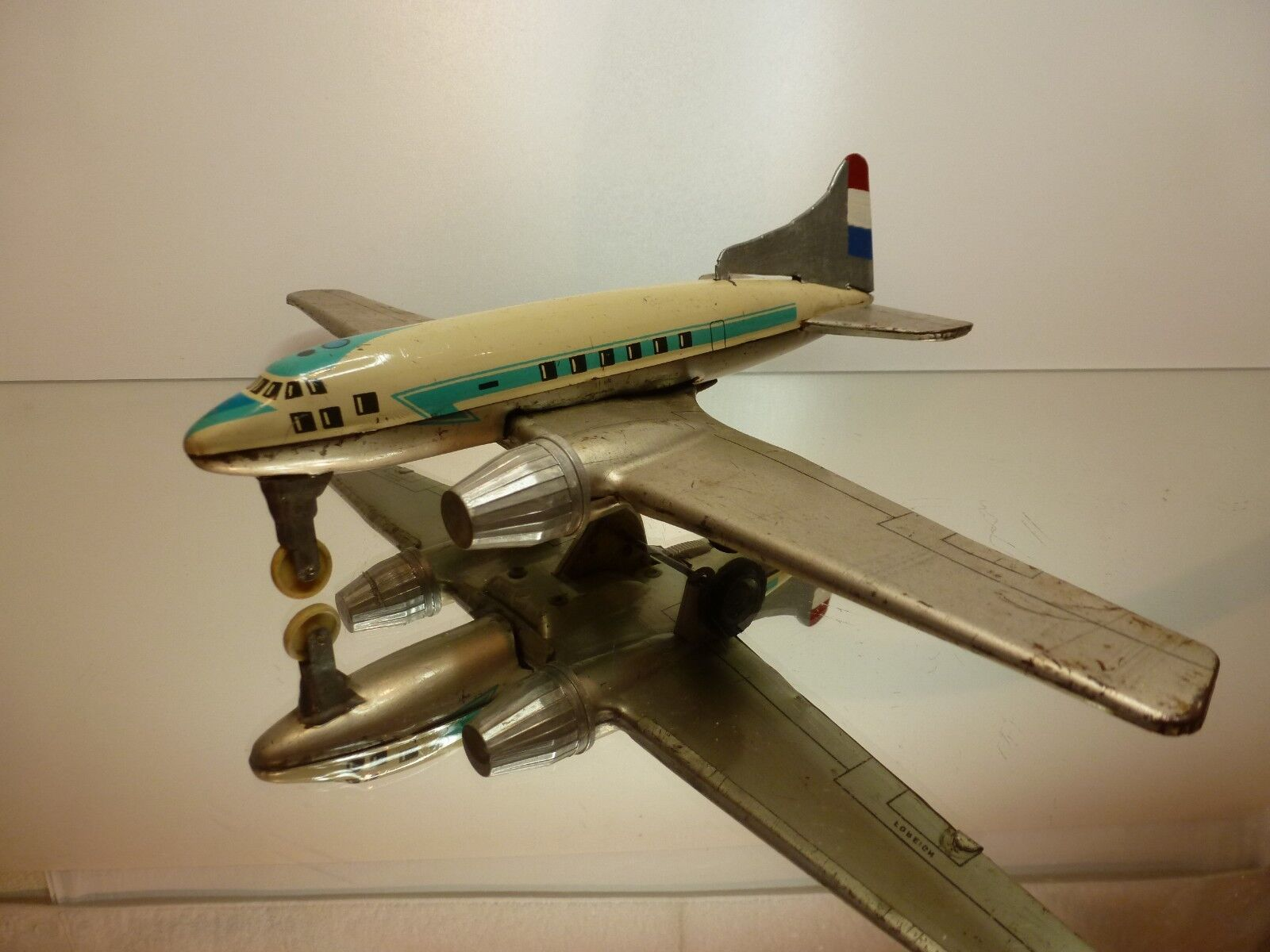 VINTAGE TIN TOY AIRPLANE - LEMEZARUGYAR FOREIGN - FRIKTION - L23.0cm - FAIR