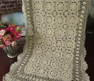 Vintage-Crochet-Lace-Table-Runner-Dresser-Scarf-Ecru-Rectangle-Doily-19x35inch