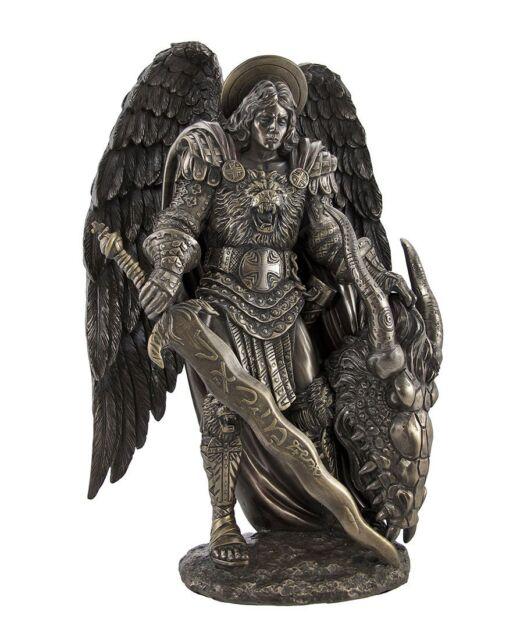 saint michael archangel slayer of lucifer dragon figurine statue