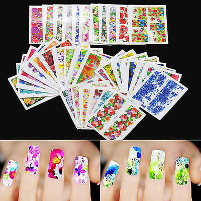 50 Sheets Watermark Stickers Temporary Tattoos DIY Nail Art Tips Manicure Decals
