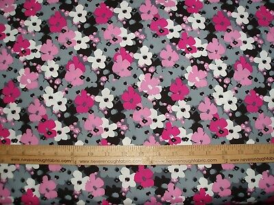 "BTY Cotton Blend Fabric 58//60/""  flowers in hot pink pink gray white black 0534"