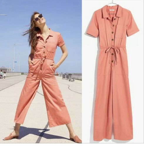 Madewell Wide Leg Utility Jumpsuit coral size 0