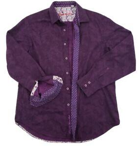 ROBERT-GRAHAM-Men-039-s-M-Medium-Flip-Cuff-Button-Down-Shirt-Striped-Cotton-Purple